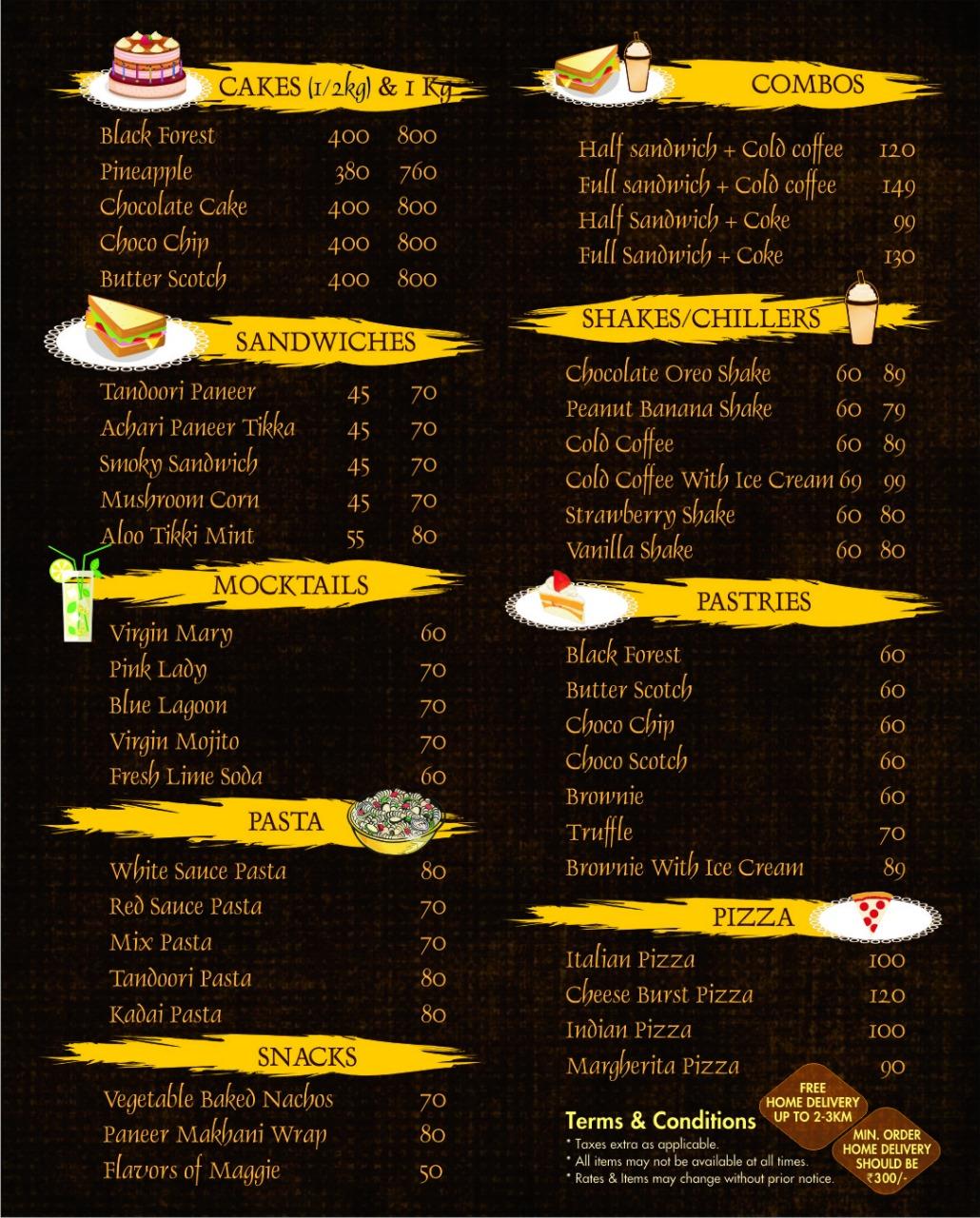 choco parlour menu